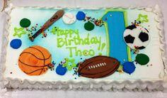 Sports theme first birthday cake