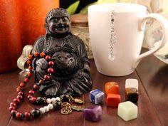 Zen Yoga Meditation Gift Set Mala Pocket Prayer Beads, Reiki Seven Gemstones Chakra Set, Tea Strainer with Lotus Charm and Swarovski Crystal