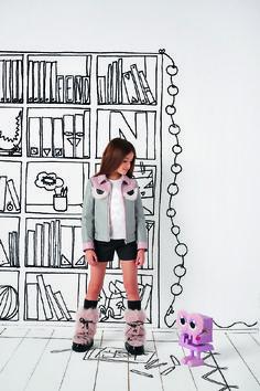 b85b1f02013b12 Fendi girls grey and pink leather jacket with bag bug eye print and faux fur  detailing.