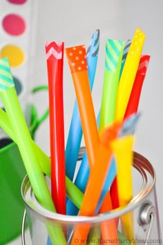 DIY pixie sticks! Too cute! Via Kara's Party Ideas KarasPartyIdeas.com