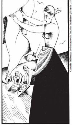 Ilustração de Santa Rosa, para o poema 'songs' (canção), de Jorge de Lima. [Arquivo do  IEB/USP-SP - Fundo Mario de Andrade]