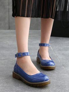 Blue Ankle Strap Chunky Flatform Shoes
