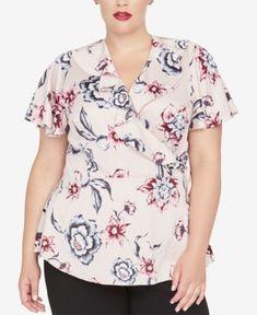 802dea5c4 Rachel Rachel Roy Trendy Plus Size Floral-Print Wrap Top - Pink 16W