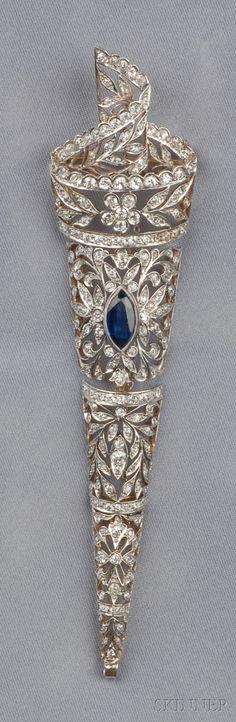 ☆ Diamond and Sapphire Pendant Brooch ☆