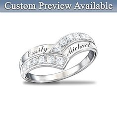 Enduring Love Personalized Diamond Ring. Handcrafted of solid sterling silver with 12 genuine diamonds in radiant pavé settings and your two names engraved on alternating rows. Gift box.
