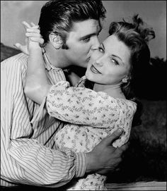 """Elvis first movie """"Love me Tender  1956.Here with his co-star sweet Debra Paget."""