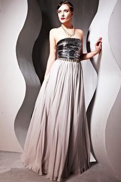 Elegant Fashional Grey Cocktail Prom Tence Strapless  Beading Long Evening Dress