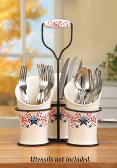 Country Berry Star Silverware Holder