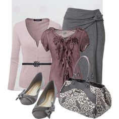 A fashion look from February 2015 featuring long sleeve tops, purple blouse and knotted skirt. Browse and shop related looks.