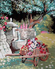 Au fond du jardin, garden scene- vintage hand stitched needlepoint tapestry…