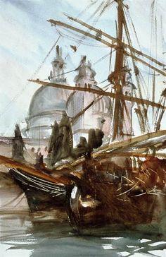 John Singer Sargent (American, 1856-1925)   - Santa Maria della Salute, Venice