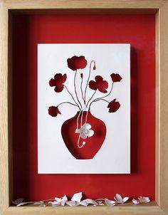 Peter Callesen  Broken Flowers, 2007  Acid free A4 115 gsm paper, glue, acrylic paint and oak frame.