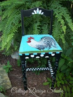french country rooster chair rooster decor by CottageDesignStudio