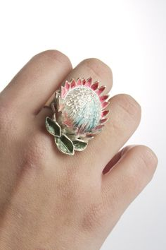 King Protea ring in silver with enamelling by Sasha Leon, Cape Town, SA Old Jewelry, Enamel Jewelry, Silver Jewelry, Silver Rings, Jewellery, King Protea, Protea Flower, Expensive Jewelry, African Jewelry