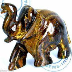 1265 Ct Rare Huge Natural Tiger Eye Hand Carved Elephant Sculpture Art Work