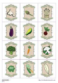 Un jeu de memory sur le thème des légumes du potager.