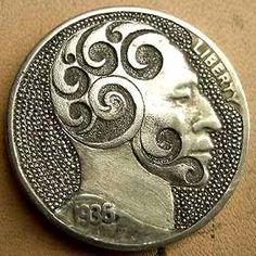 Doug Southerland Hobo Nickel: Scrollhead - 1935 Buffalo Nickel Metal Engraving Tools, Engraving Ideas, Hobo Nickel, Coin Art, American Coins, Antique Coins, World Coins, Cool Inventions, Coin Collecting