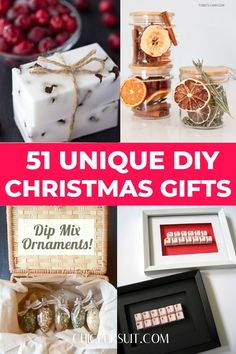 The Best Cheap DIY Christmas Gift Ideas For Family & Friends: Handmade gifts that are unique, creative and personalized. This list has gifts for everyone - gifts for kids, gifts for friends, gifts for family, gifts for in laws, gifts for boyfriend and gifts for mom. Every gift on this list is simple and great for those on a budget. Learn how to make peppermint scrub, gingerbread soap, bath bombs, etc.| Christmas gifts DIY #diychristmasgifts #christmasgiftsdiy #diy #christmas #gifts #chicpursuit