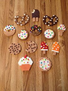 Tea party perler bead snacks,You can find Perler beads and more on our website. Easy Perler Bead Patterns, Melty Bead Patterns, Perler Bead Templates, Diy Perler Beads, Perler Bead Art, Beading Patterns, Peyote Patterns, Loom Patterns, Loom Beading