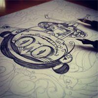 illustration working image by black ink