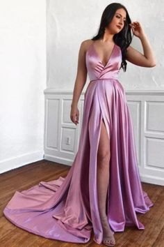 A-Line Spaghetti Straps Sweep Train Prom Dress With, This dress could be custom made, there are no extra cost to do custom size and color Affordable Prom Dresses, Cheap Prom Dresses, Formal Dresses, Party Dresses, Formal Wear, Split Prom Dresses, Bridesmaid Dresses, Spaghetti Strap Dresses, Spaghetti Straps