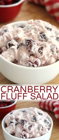 Cranberry Fluff Salad is an easy holiday side dish perfect for Thanksgiving and Christmas dinner. A luscious combination of cranberries, pineapple, whipped topping and marshmallows.