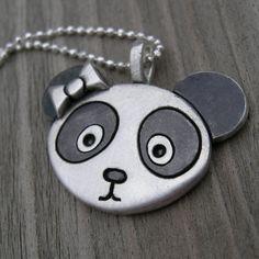 Worried Panda Sterling Necklace. $56.00, via Etsy.