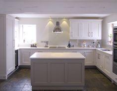Farrow & Ball Skimming stone 241 - main kitchen. Farrow & Ball Charleston Grey 243 - island unit,