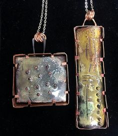 Torch Fire Enameling Shadowboxes and Tab Bezels Enamel Jewelry, Copper Jewelry, Modern Jewelry, Unique Jewelry, Funky Jewelry, Jewelry Crafts, Jewelry Art, Handmade Jewelry, Jewelry Design