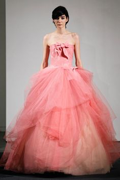 Wedding dress by Vera Wang Fall 2014 bridal collection - peach and pink tulle