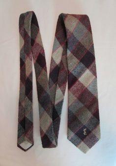 Yves Saint LaurentVintage Designer Heather Mist Wool Blend Necktie Tie Italy VintageHag.com
