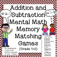 First and second grade addition and subtraction memory matching game. Help students master Common Core specified computation skills and develop fact fluency. Each set has 20 cards, and there are 51 sets included here.  Table of Contents: Vocabulary            		 Addition Doubles		 Addition Facts			 Subtraction Facts		 Subtraction from 10		 Missing Number	Subtract from 10 Missing Addend to 10	          Missing Addends	            Missing Number Subtraction   2 Digit + Ones			 2 Digit + ...