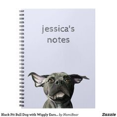 Black Pit Bull Dog with Wiggly Ears Watercolor Notebook. This is a watercolor painting of a black pit mix with floppy ears. It has pretty brown eyes.