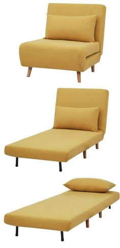 Ten sleeper chairs that turn any space into a guest room in a snap Sleeper chairs are practical solutions for small space dwellers that need to accommodate overnight guests. They convert from seating into sleeping in a matter o Convertible Furniture, Convertible Bed, Bedroom Chair, Sofa Bed, Bedroom Sets, Sleeper Chair Bed, Couch, Blue Accent Chairs, Yellow Chairs