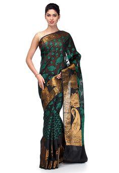 Woven Cotton Saree in Black