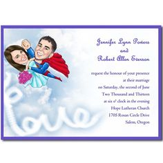Unique superman photo wedding invitations EWUI015 as low as $1.25