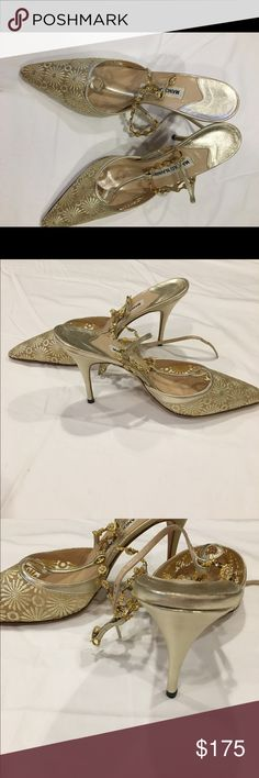 Vintage Manolo Blanik shoes Vintage Manolos at their very best!  Elsa Mesh Gold-Napa Platine. Gorgeous and ridiculously elegant t-straps. Glittery gold mesh toe adorned with gold flowers. Gold jeweled ankle bracelet with crystals. Never worn. Manolo Blahnik Shoes Heels