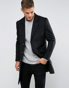 ASOS   ASOS Wool Mix Overcoat In Black