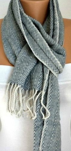 ON SALE - Unisex Scarf - Wool Scarf - Zigzag Cowl Scarf Shawl - Neck Warmer  - Blue Light Gray - Gift -Men Scarf - Man Scarf $26