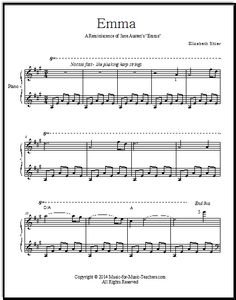 Jane Austen Emma music - free piano sheet music!  This beautiful song is a tribute to Emma.