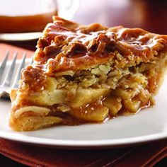 """Caramel Apple Streusel Pie.  I made this recipe 8-27-13 (using Gala apples) and it is wonderful.  Best apple pie I ever made.  tips--recipe didn't specify what kind of caramels to melt.  I used Werther's chewy caramels and I also cut back on the amount of milk I used with it.  I used the """"perfect pie crust"""" recipe from """"The Martha Stewart Cookbook: Collected Recipes for Every Day,"""" p. 7."""