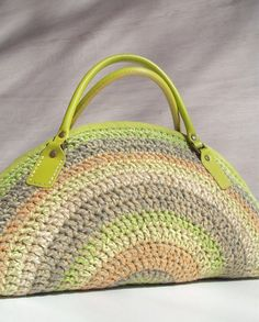Crocheted bag handbag purse shoulder bag with lime by colettecolor, $108.00