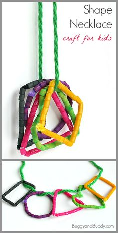 Math for Kids: Shape Necklace Craft Using Dyed Pasta Math Classroom, In Kindergarten, Math Activities, Preschool Activities, Preschool Shape Crafts, Classroom Ideas, Shapes For Kids, Math For Kids, Fun Math