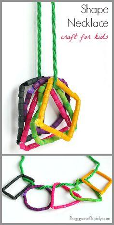 Math for Kids: Shape Necklace Craft Using Dyed Pasta~ BuggyandBuddy.com