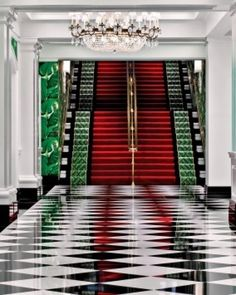 The glam interiors were designed in the 1940s by society decorator Dorothy Draper.  Love, love, love The Greenbrier and its style.