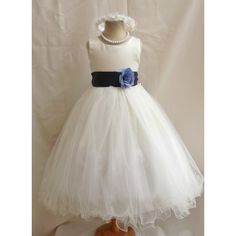 Curly Bottom Ivory Gown with Blue Navy Sashes