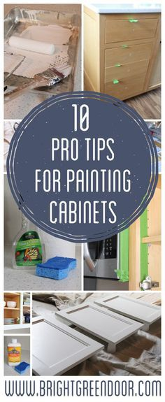 10 Pro Tips for Painting Cabinets, Tips and Tricks for Painting Cabinets, DIY Cabinet Painting www.BrightGreenDoor.com
