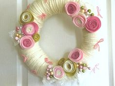 Pink and Green Yarn Wreath with felt flowers
