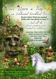 Wonderfully Whimsical Fairy Forest Invitations by Bella LuElla ~~~This is a digital file~~~ I customize it~~~You print it! ~High resolution ~ 300