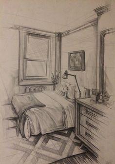 interior drawing,bedroom,pen drawing yatak odası çizimi,karakalem,iç mekan
